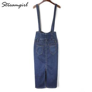 Image 3 - Streamgirl Long Denim Skirt With Straps Women Button Jeans Skirts Plus Size Long High Waist Pencil Skirt Denim Skirts Womens
