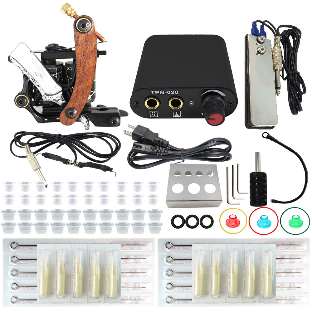 ФОТО ITATOO Best Complete Tattoo Kit Machine Set Permant Make up Machine Set  with Tattoo Needles Clid Cord Foot Pedal Power NT00060