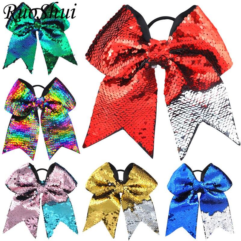 1PC 8 Inch Christmas Ponytail Holder Elastic Hair Hands Girls Glitter Sequins Scales Big Cheerleading Hair Bows Hair Scrunchies