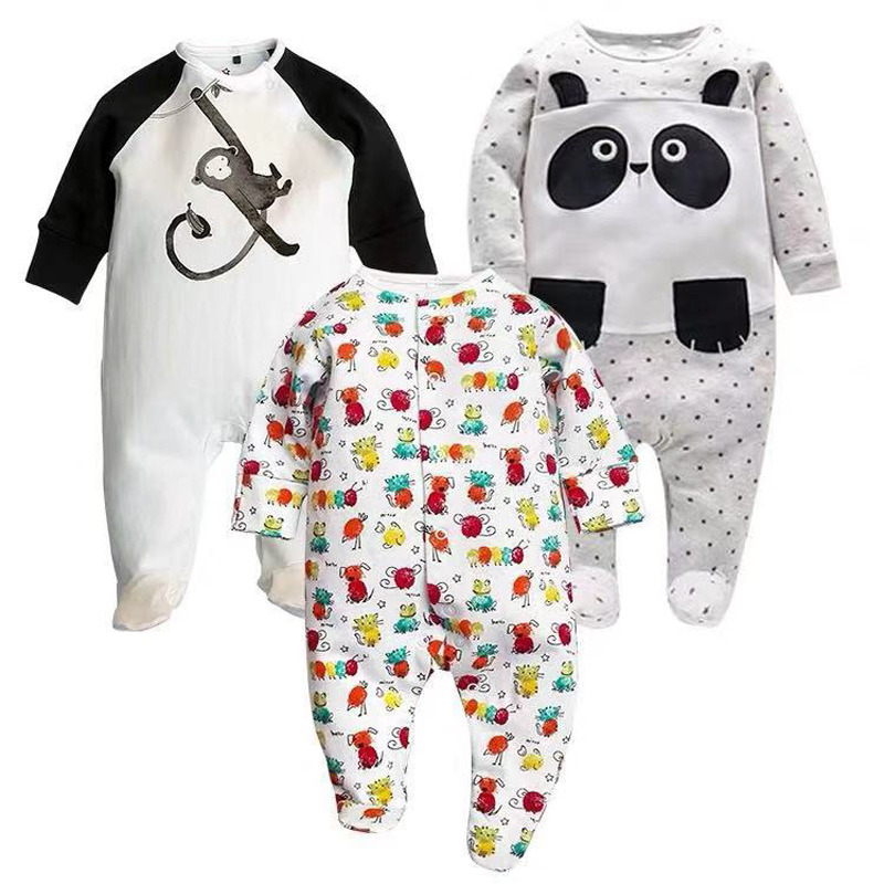 Baby Girls Sleepers Pajamas Babies Newborn Boys Jumpsuits 2 PCS/lot Infant Long Sleeve 0 3 6 9 12 Months Clothes