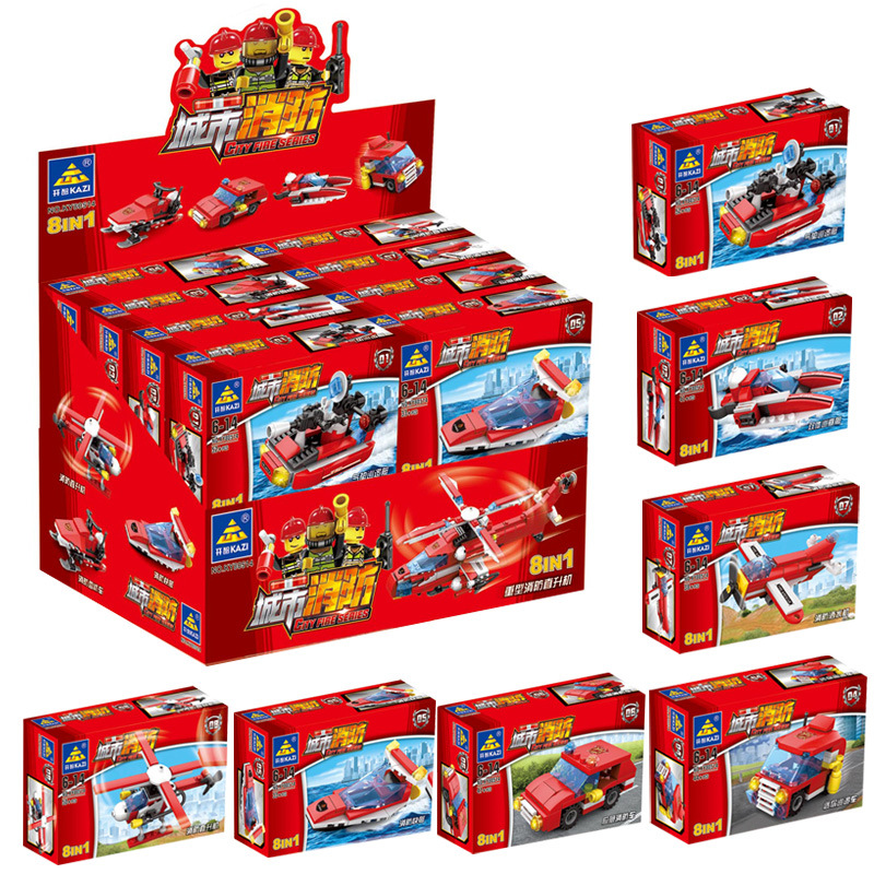 KAZI City Police 67253 City Fire 80514 8 - in - 1 educational toys Compatible with famous brand brick heads for children
