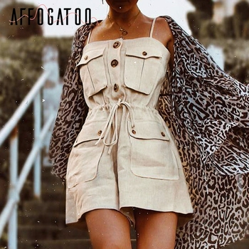 Affogatoo Sexy vintage strap women romper jumpsuit Casual button pocket lace up jumpsuit Summer loose cotton romper female 2019