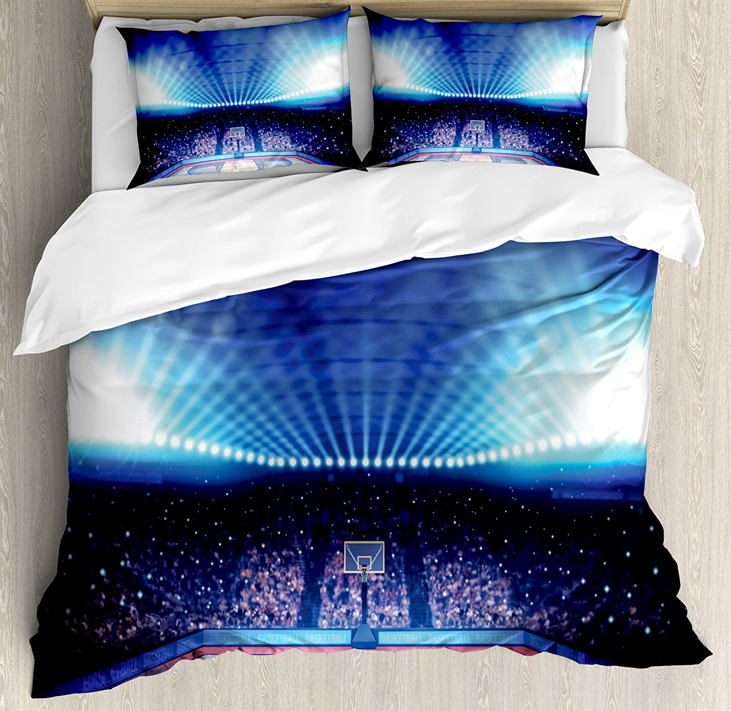 Sports Duvet Cover Set Basketball Arena Court with Fans And Flashlights Competition Them ...