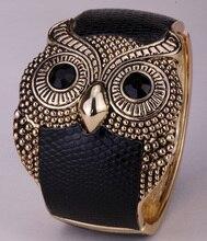 Búho de cuero brazalete pulsera para las mujeres blanco negro oro antiguo plateado FT25 dropship venta al por mayor