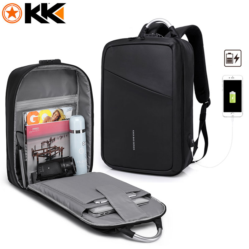 KAKA Fashion Antitheft Male Backpack USB charging 15.6inch Laptop Bag Backpack Schoolbag Men Waterproof Travel Backpacks Mochila fushan oxford backpack men 15 6inch laptop backpack bag multifunction nylon waterproof fashion travel schoolbag male backpacks
