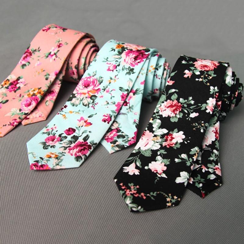 RBOCOTT Floral Ties For Men Printed Cotton Tie Mens Ties 6cm Slim Neck Tie Skinny Necktie For Wedding Party
