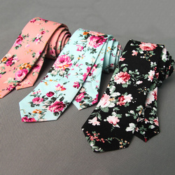 RBOCOTT Floral Ties For Men Printed Cotton Tie Mens Ties 6cm Slim Neck Tie Skinny Necktie For Wedding Party 1