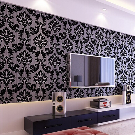 Classic Home Decor Background Wallpaper Damask Wall Black