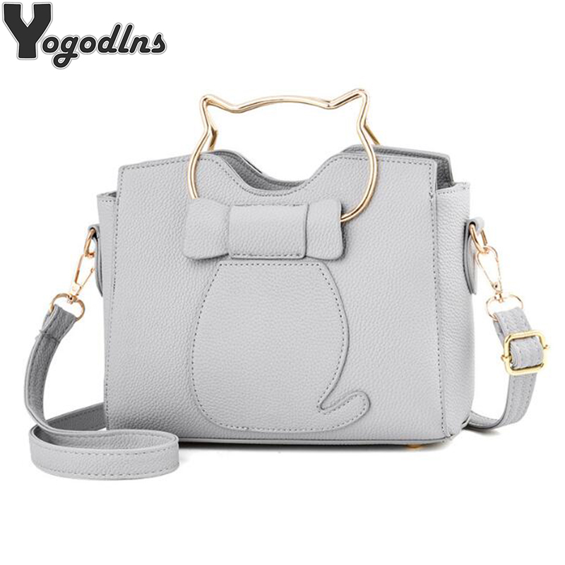 2018 Women Shoulder Bags Crossbody Handbag PU Leather Cute Cat Bag Solid Color New Metal Top-handle Bags Fashion Tote micocah new arrival women handbag 2018 cute solid color women purse crossbody bags green lcs089