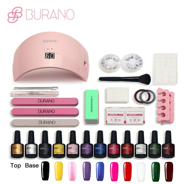 Burano 10 color uv gel polish 36w\24w uv led lamp manicure uv gel nail art diy nail tools sets kits nail gel kit 10colors NEW76