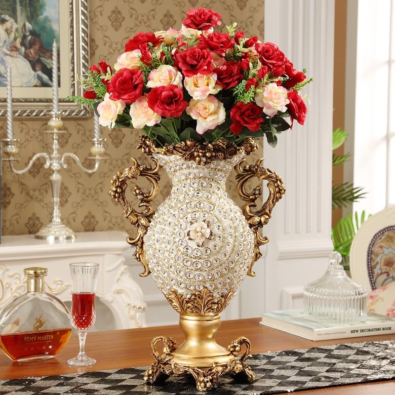 European Palace Luxury Diamond Large Resin Vase Figurines Home Decoration Crafts Hotel Retro Artificial Flower Arrangement Art