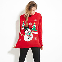 New Autumn Winter Kintted Sweaters Women Christmas Theme Cute Snowman And Christmas Tree Ugly Christmas Sweater