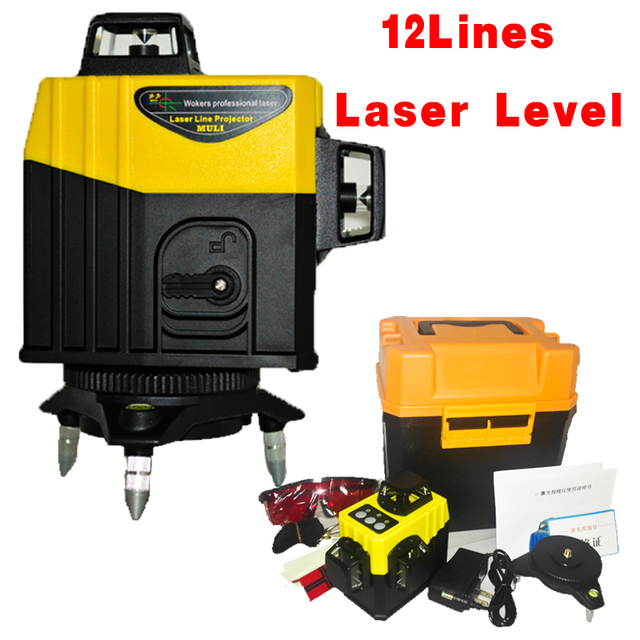 12Linhas3D Super Poderoso Laser Lithium battery 360 Horizontal E Vertical do Nivel de Auto-Nivelamoent Oblique line function