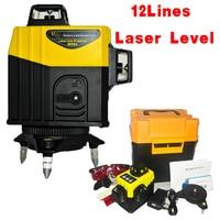 12Linhas3D Super Poderoso Laser Lithium battery 360 Horizontal E Vertical do Nivel de Auto Nivelamoent Oblique line function