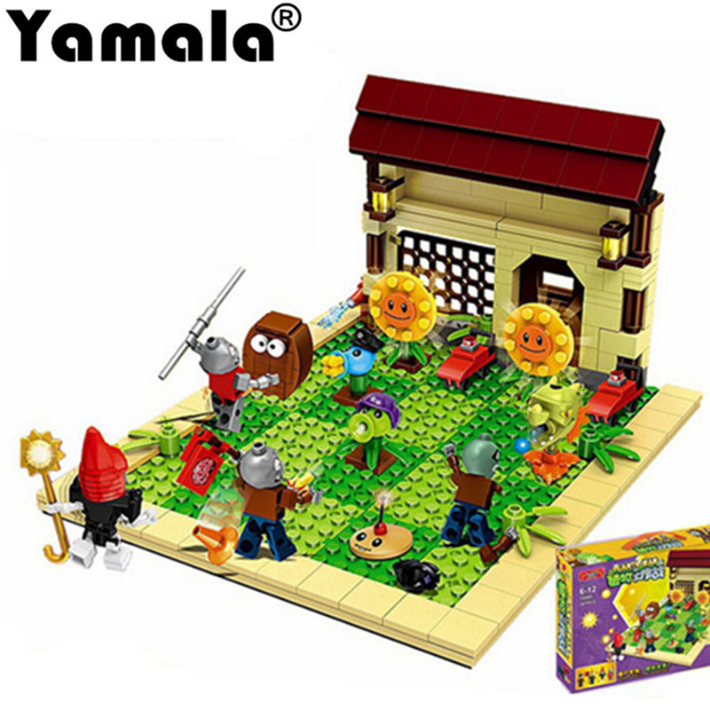 [Yamala] 387pcs new ideas plants vs zombies struck game Building Blocks set Toys Compatible legoingly gift for children action 52pcs set plants vs zombies pvz collection figures toy all the plants and zombies figure toys free shipping