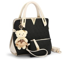 Brand High Quality Women Handbag Messenger Bags Shoulder Bags 2 Bags set With bear toy Casual