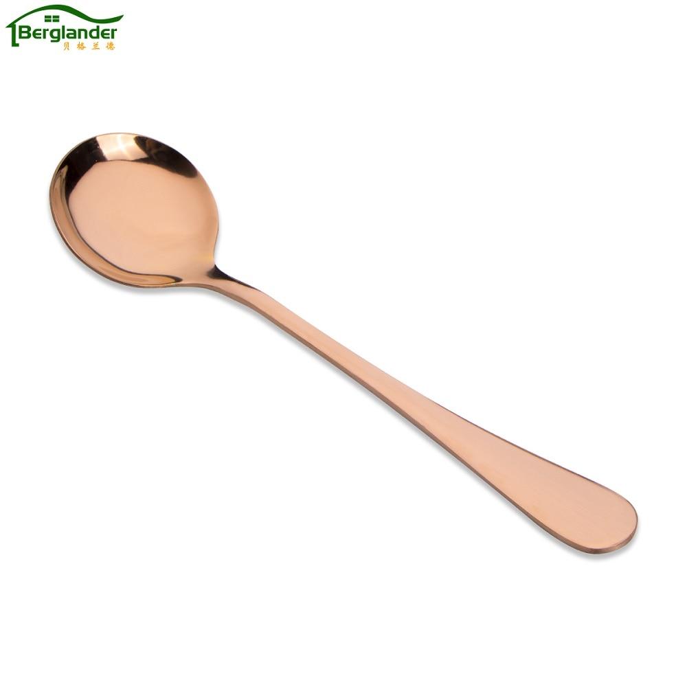 ᐂBerglander new6pcs/set oro rosa de acero inoxidable cuchara de ...