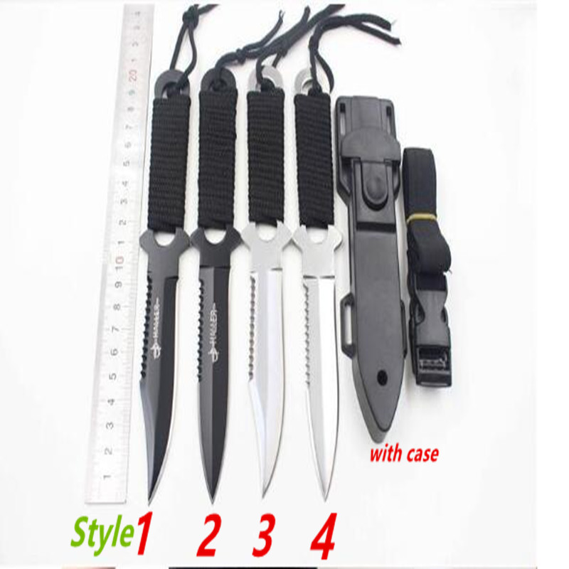 SHNAPIGN Knife Haller Leggings/Paratroopers Steel Diving Straight knife Outdoor Survival Camping Tactical Knife with case S010