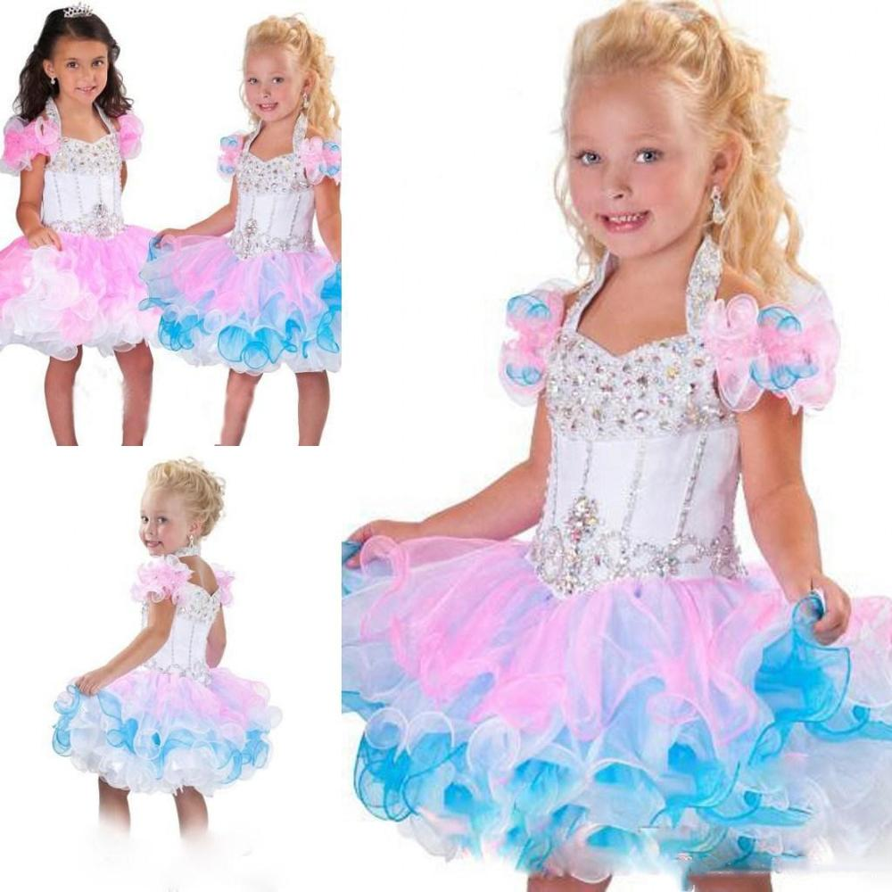New Colorful Puffy Organza Baby Girls First Birthday Dress Knee Length Glitz Tutu Pageant Dresses Crystal Beads 9M 12M 18M 24M