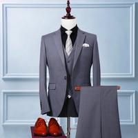 Custom made Mens Light Grey Cashmere Suits Formal Dress Men Suit Set men wedding suits groom tuxedos(Jacket+Pants+Vest