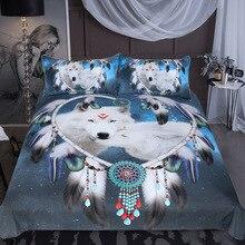 White Wolf Couple Bedding Set 3d Comforter Sets Queen King Size Blue Black Duvet Cover 3-Piece Bedclothes Home Textiles
