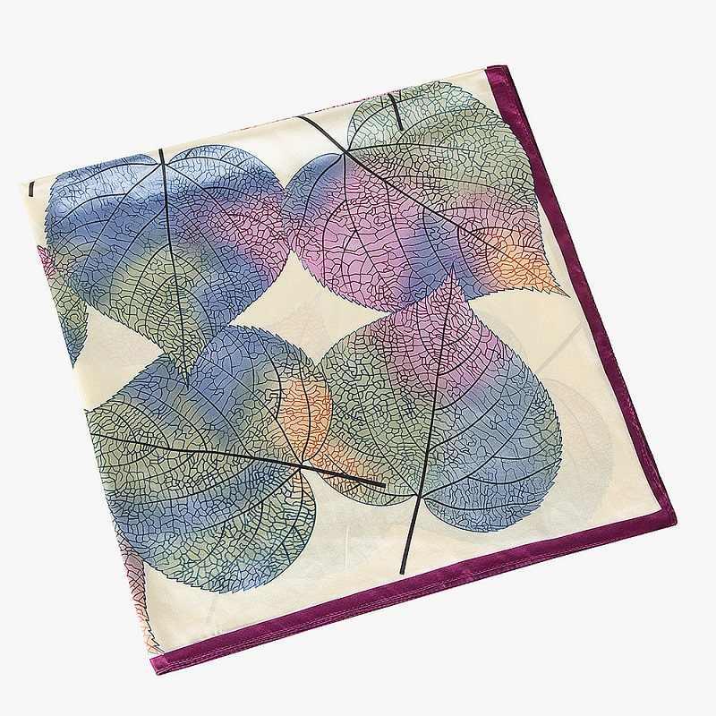 [POBING] 2017 Элитный брендовый шелковый шарф женские квадратные шарфы шелковый платок с принтом листьев и широкий шарф хиджаб бандана женский фуляр 90 см х 90 см