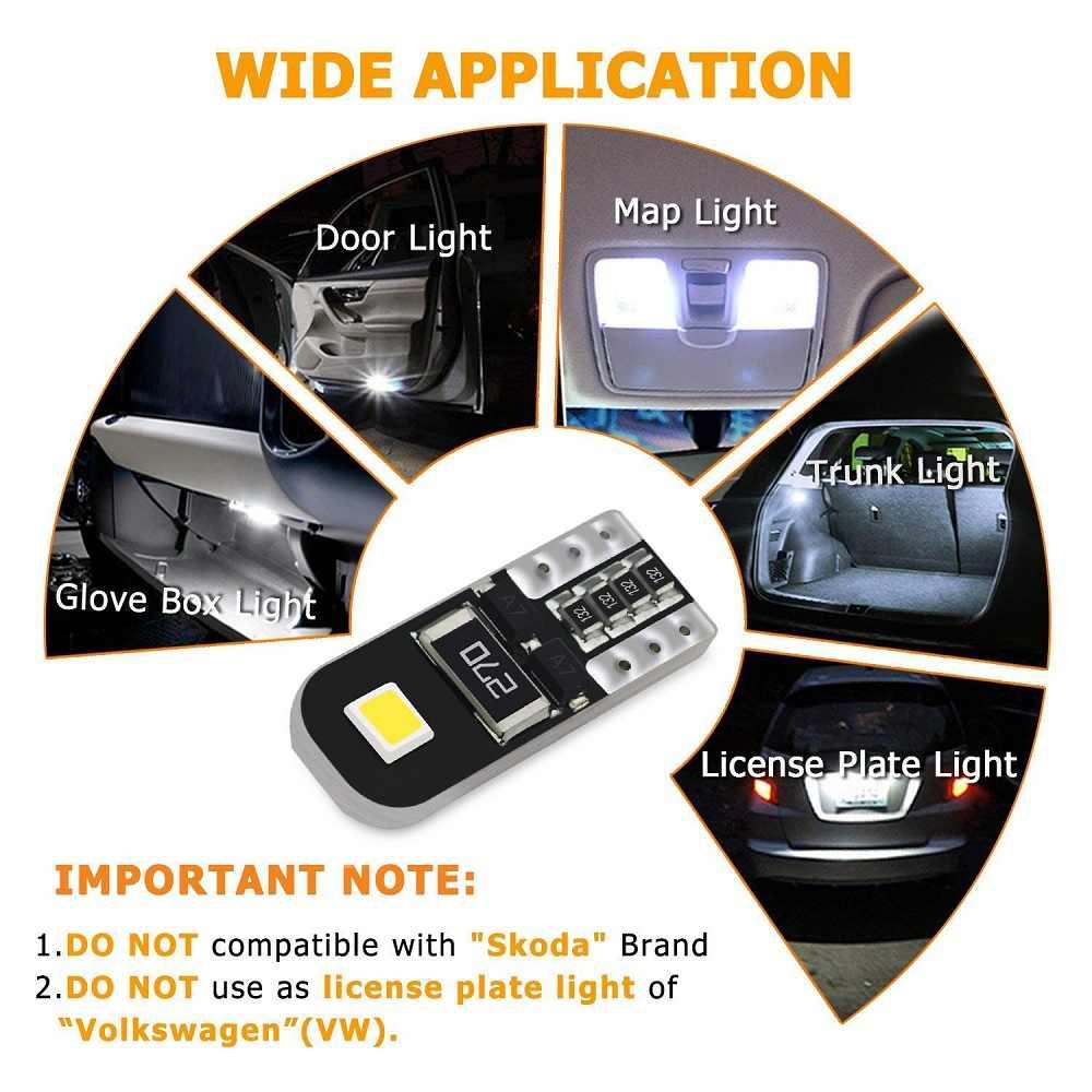 10 Pcs W5W LED T10 LED CANBUS Bohlam Lampu Interior Mobil untuk BMW E46 E53 E90 E82 E60 X3 E83 e91 Tur X5 E70 X6 E71 E36 Coupe F25
