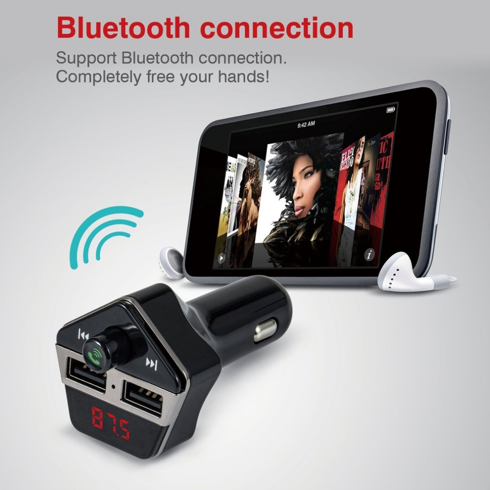 New Styling Bluetooth Car Handsfree Kit FM Transmitter MP3 Player Dual USB Car <font><b>Charger</b></font> TF/U Disk Music Playing Tool Hot Selling