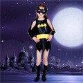 Nuevo batman cosplay Linda Bat Traje de Halloween Kids Ropa Para Niñas Niños Negros Batman Ropa de Halloween Ropa de La Muchacha
