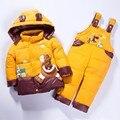 Дети Одежды Мальчиков Девочек Зимой Вниз Пальто Детей Теплые Куртки Малыш Snowsuit Твердые Верхняя Одежда Пальто + Брюки Комплект Одежды 2-5Y