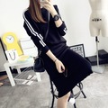 2017 Korean 2pcs Autumn Pullover Sweaters Dress Jumpers Long Sleeve Casual Spring Knitted Sweter Mujer Wool Office Dress Sweater