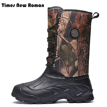 Times New Roman Men Winter Boots Military Boots Waterproof Safety Shoes Snow Boots Outdoor Fur Warm Mans Boots