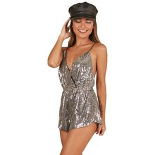 Women Summer Sleeveless Deep V-Neck Suspender Jumpsuit Glitter Sequins Solid Color Ruched Wrap Front Rompers Shorts Sexy Backles
