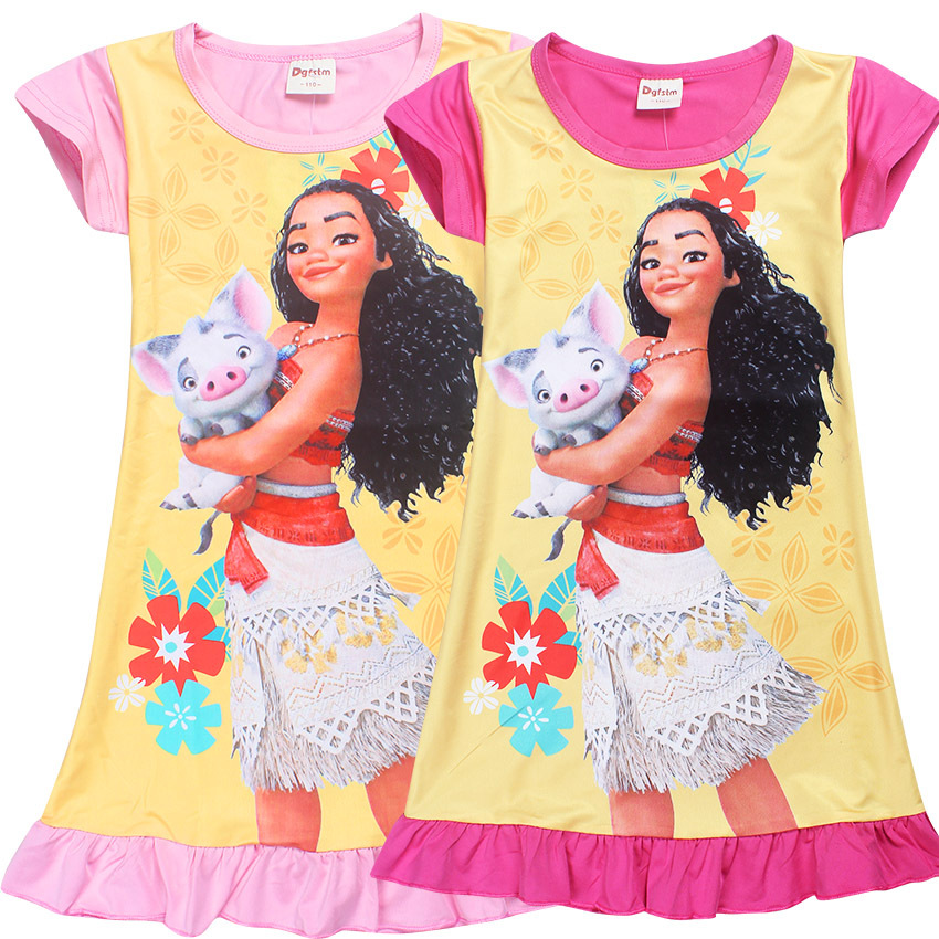 2018 Summer Moana Dresses for Girls Princess Birthday Party Dress Children Elsa Anna Costume Kids Clothes Vestido 4-10y children anna elsa princess birthday dresses cosplay party fancy costume with cape christmas dress child blue red clothes kids