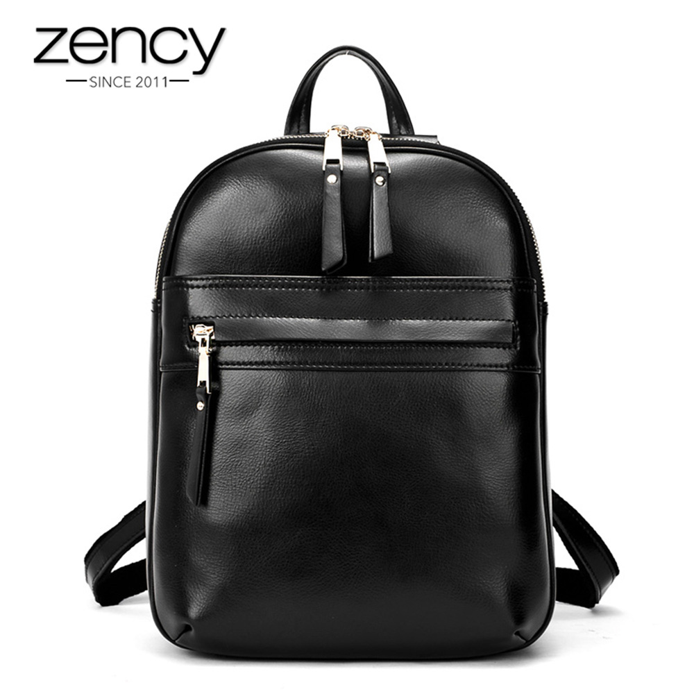 Zency Summer Beige Genuine Cow Leather Women Backpack Fashion Black Female Travel Bags Large Capacity Schoolbags For Girls цена