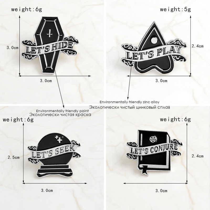 Kepribadian Bros Hitam Geometris Streamer Badge Pin Bola Kristal Lintas Peti Mati Cinta Sihir Buku Bermain Hide Panggilan Punk Perhiasan