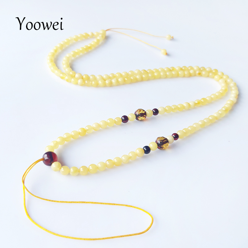 Yoowei 3.6mm Amber Necklace Wholesale Genuine Round Small Beads 100% Original Natural Baltic Honey Amber Women Jewelry Supplies yoowei 4mm natural amber bracelet for women small beads no knots multilayered sweater chain necklace genuine long amber jewelry