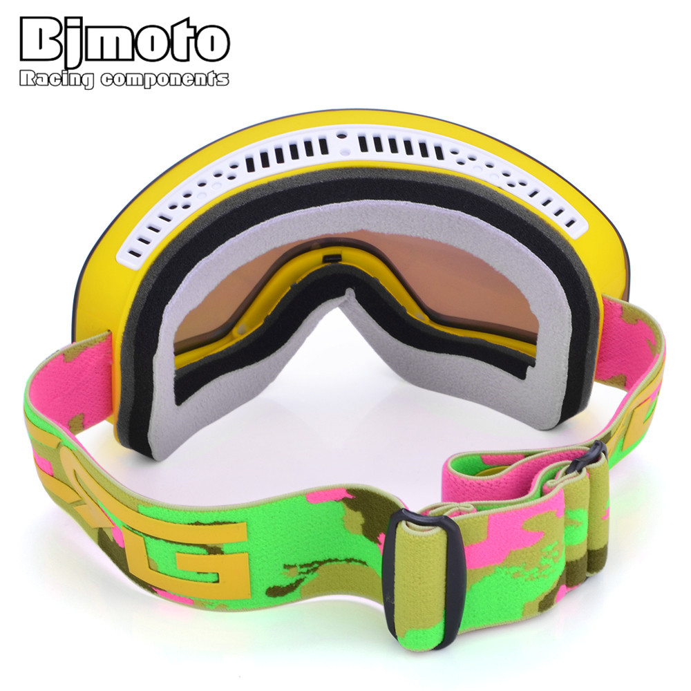 Bjmoto Skiing Snowboard Goggles Snow Anti fog UV Ski Glasses Goggle ski goggles double layers men women skiing goggles glasses in Motorcycle Glasses from Automobiles Motorcycles