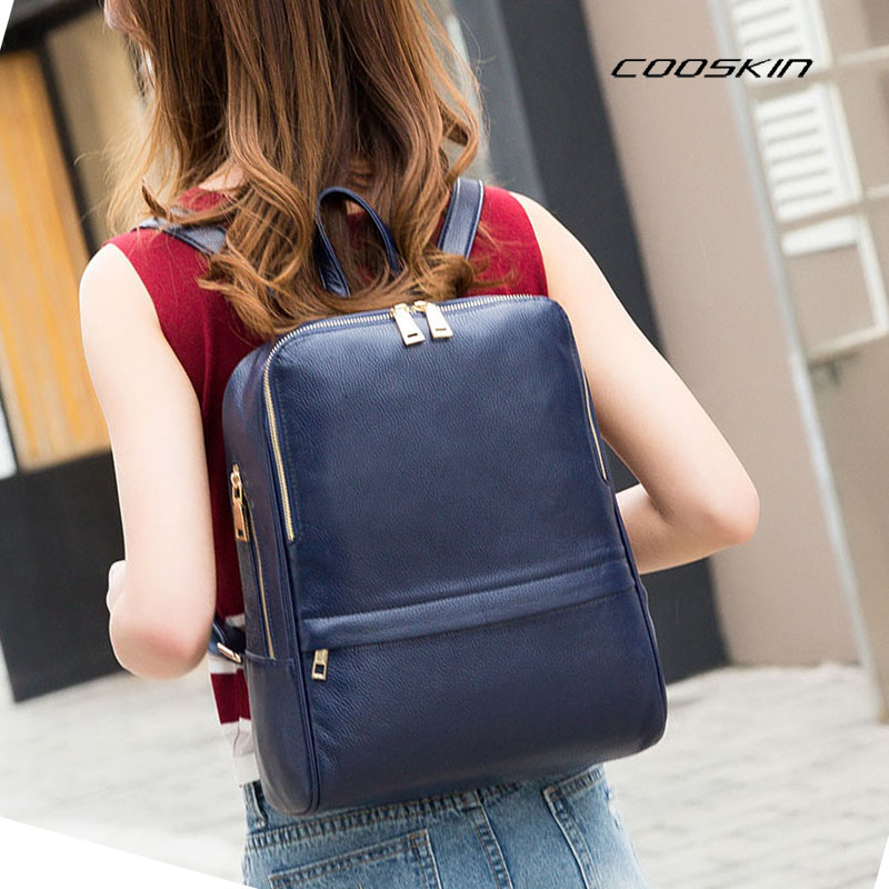 Backpack Natural Soft Real Leather Female Backpacks Genuine First Layer Cow Leather Top Layer Cowhide Women Backpack School Bags zency fashion leather backpack real natural genuine leather women backpacks ladies girl school bag top layer cowhide mochila