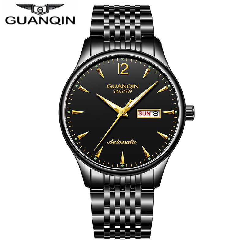 Watches Men Luxury Brand GUANQIN Automatic Mechanical Watch Waterproof Calendar Black Steel Wristwatch relogio masculinoWatches Men Luxury Brand GUANQIN Automatic Mechanical Watch Waterproof Calendar Black Steel Wristwatch relogio masculino