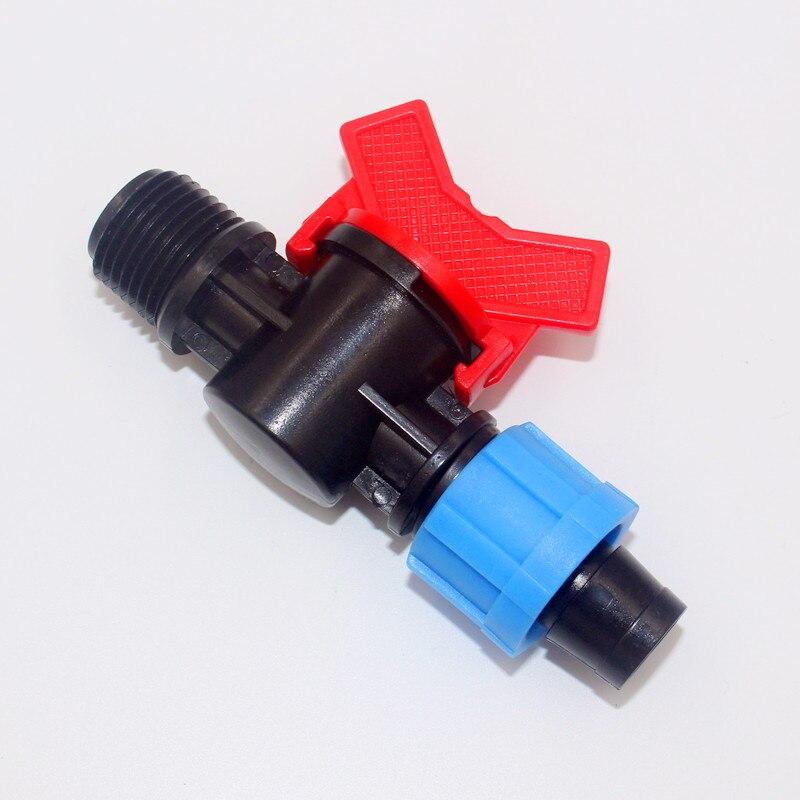 20 шт./упак. капельного Клейкие ленты 5/8 Лок x 1/2 MPT с Клапан-Применение подключить 5/8 капельного клейкие ленты (16 мм) до 1/2 резьбой трубы Y112