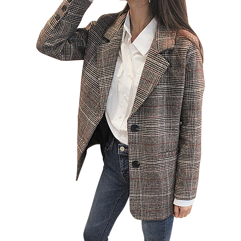 Women lattice Woolen Blazer  Autumn Winter Thick Jacket Suit Blazers Long Sleeve Office Work Coat  Casual Jacket Plus Size S M L