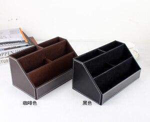 Image 5 - home office wood +PU leather desktop office storage pen holder organizar desk organizer office stationery holder SNH011B