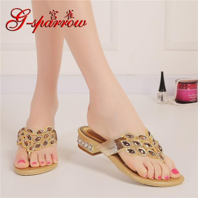 69c5134a3dd587 G-SPARROW Women s Shoes 2018 Women Gold Summer Bohemian Slippers And Flip  Flops Online Shopping