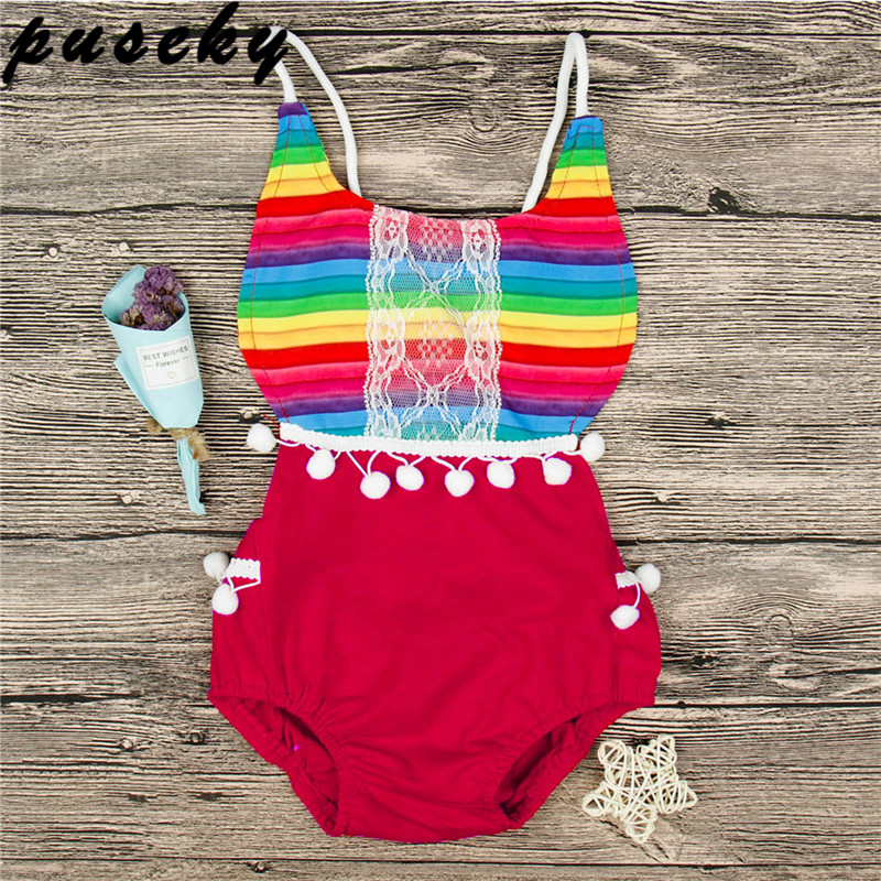 69157500dac Puseky 2018 Casual Summer Sleeveless Newborn Infant Baby Girl Cotton  Rainbow Bodysuit Sunsuit Clothes Outfits 0