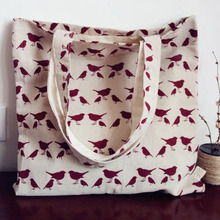 One Yard 150cm Width So Cute Blue & Red Lucky Magpie Bird Printed Cotton Linen Fabric For DIY Sewing Decoration