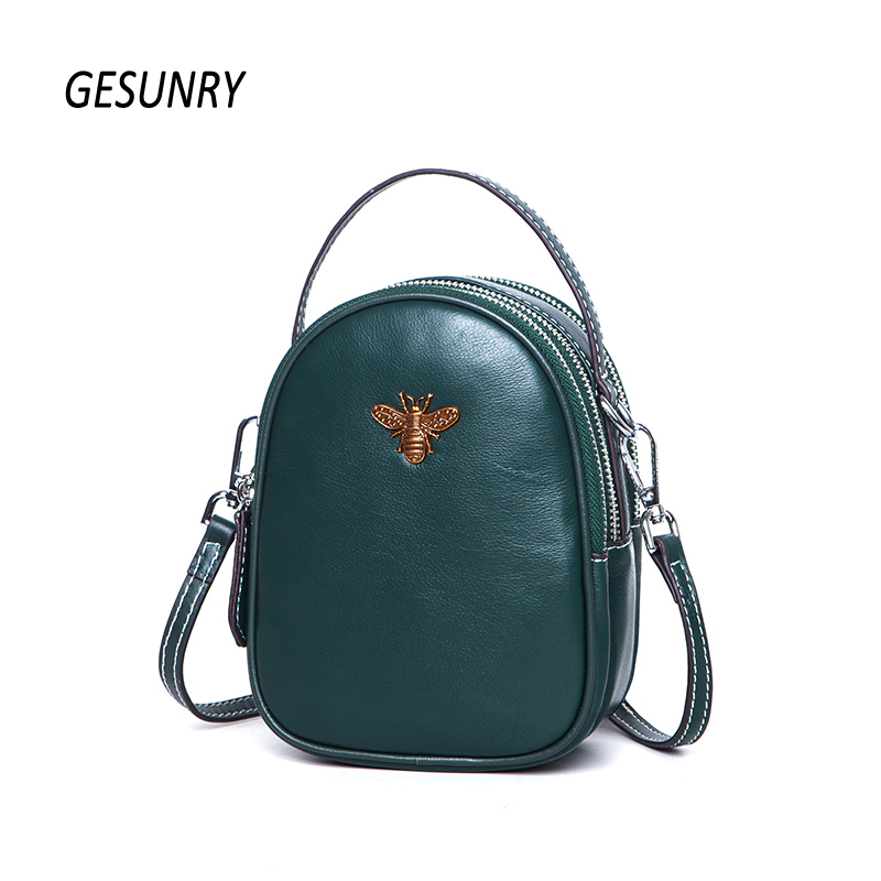 New Fashion women messenger bag first layer cowhide Shoulder Crossbody Bag ladies genuine leather phone bag for girls qiaobao 2018 new korean version of the first layer of women s leather packet messenger bag female shoulder diagonal cross bag