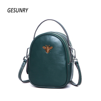 New Fashion Women Messenger Bag First Layer Cowhide Shoulder Crossbody Bag Ladies Genuine Leather Phone Bag