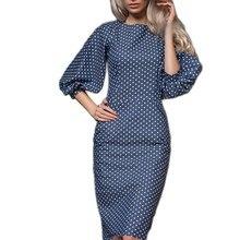 Женское осеннее Повседневное платье в горошек с принтом, Повседневное платье с круглым вырезом и рукавами-фонариками, элегантные вечерние платья бодикон