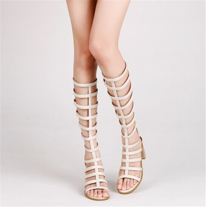 ФОТО Sexy Thick with high heels Knee High boots gladiator sandals women short/long section genuine leather pumps design shoes